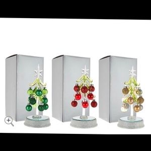 S/3 Lit Glass Trees With Ornaments